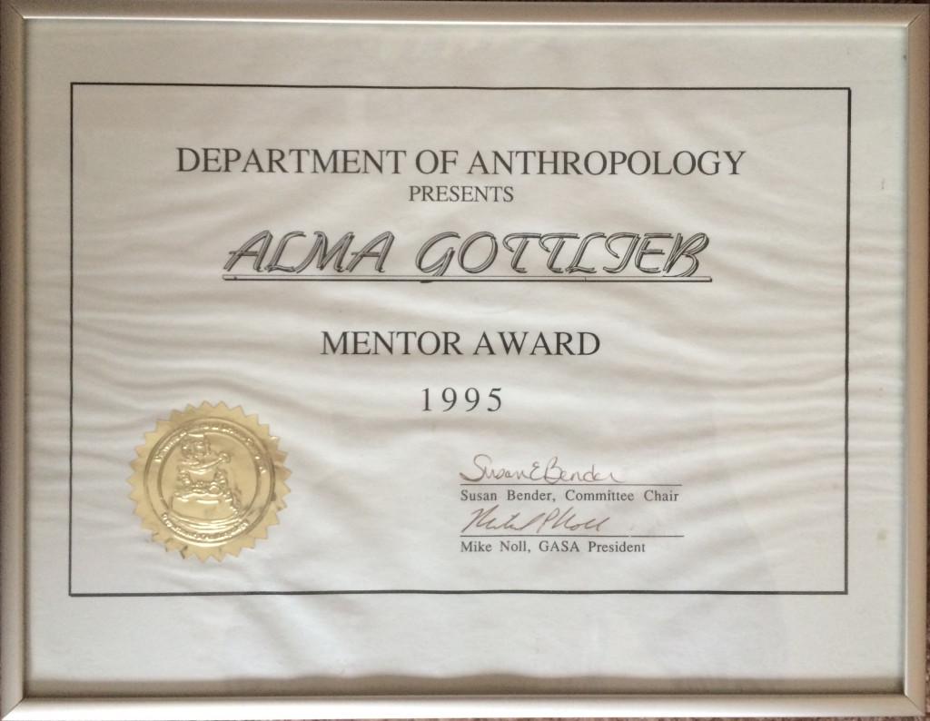 UIUC ANTH Dept Mentor Award, 1995