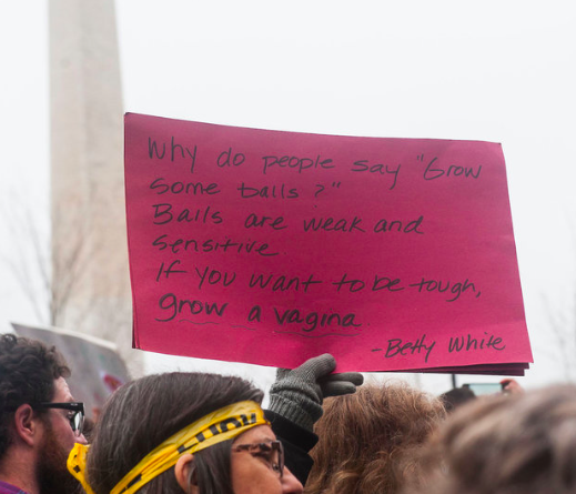 Poster, Grow a Vagina, Betty White Quote, photo by Alanna Vaglanos, Huff Post, cropped