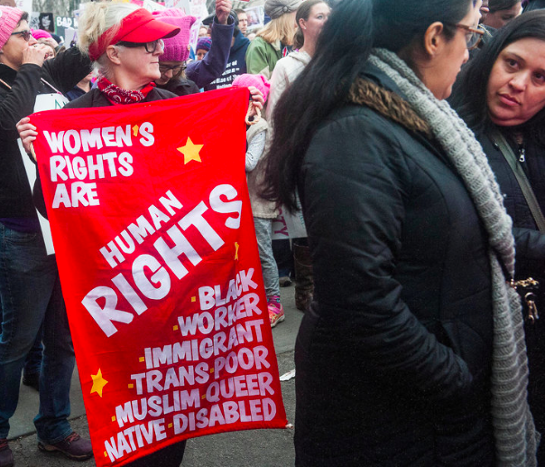 Poster, Womens Rights are Human Rights, Black, Worker, Immigrant, Trans, Poor, Alanna Vaglanos, Huff Post, cropped