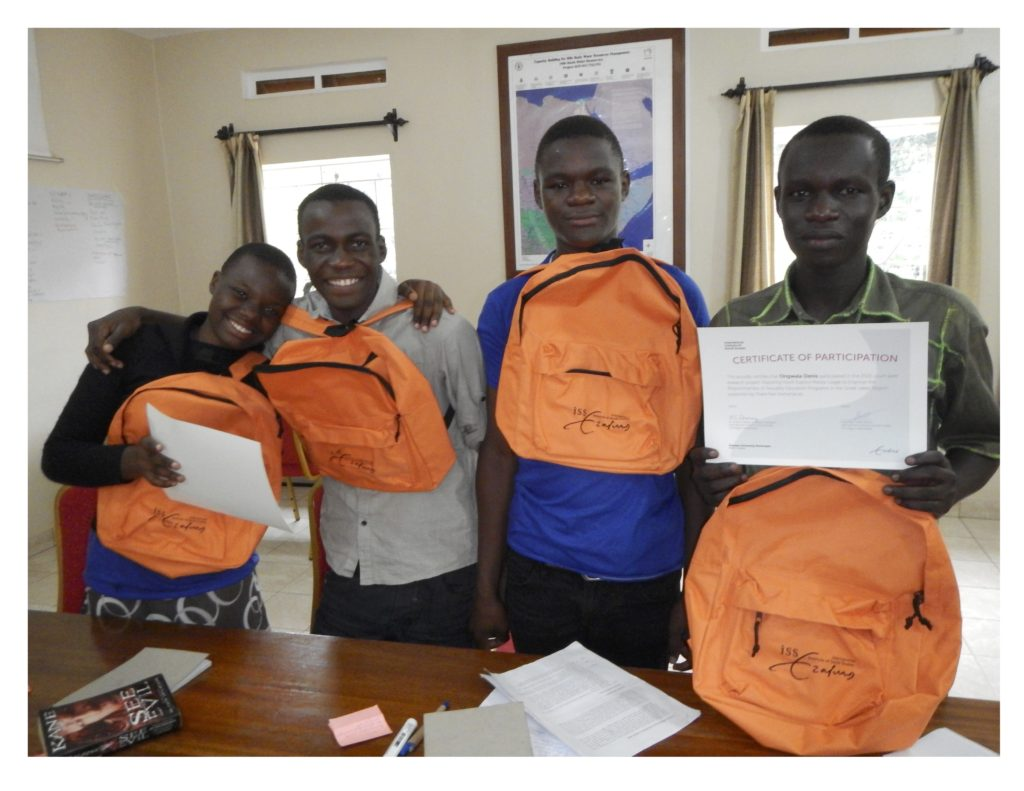 Youth Peer Researchers w Backpacks, Certificates